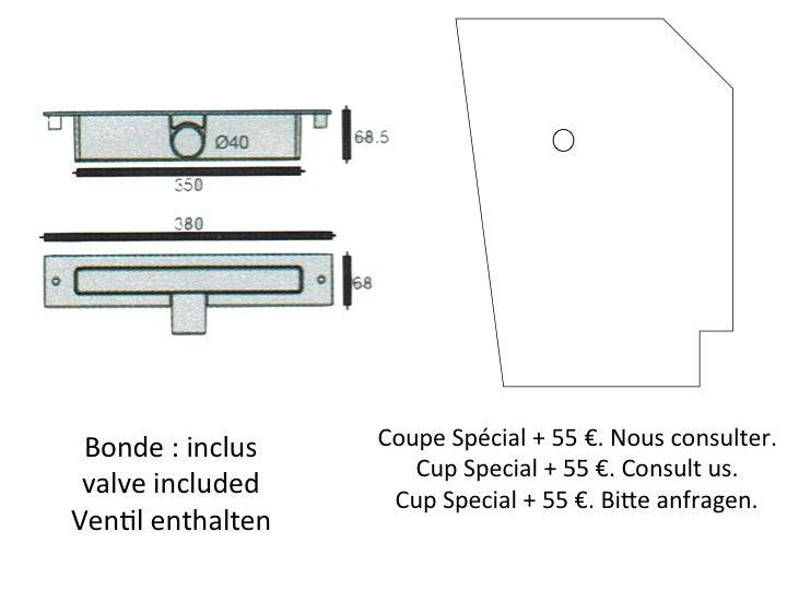 receveurs de douches longueur 180 receveur de douche vacuation centrale lin aire 70 80 90. Black Bedroom Furniture Sets. Home Design Ideas