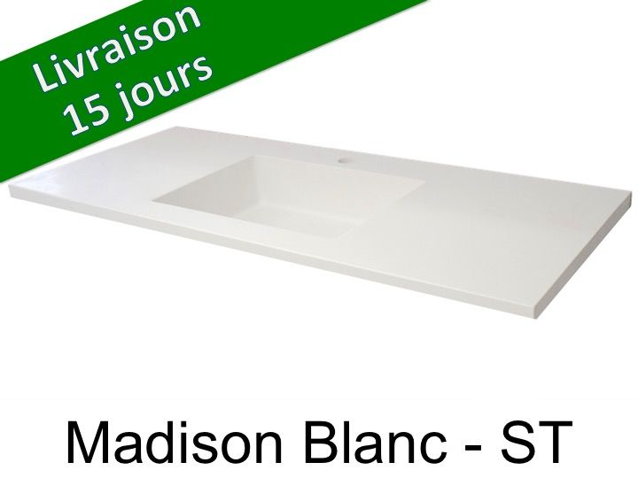 vasques largeur 110 plan de toilette avec vasque int gr e largeur 50 x 110 cm madison blanc st. Black Bedroom Furniture Sets. Home Design Ideas
