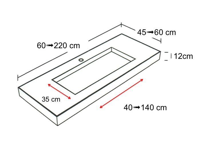 plan toilette en pierre avec vasque int gr e 45 x 120. Black Bedroom Furniture Sets. Home Design Ideas