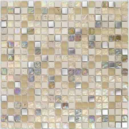 mosaïques marbre, galets et frises mosaïques - malla inox beige ... - Plaque Mosaique Salle De Bain