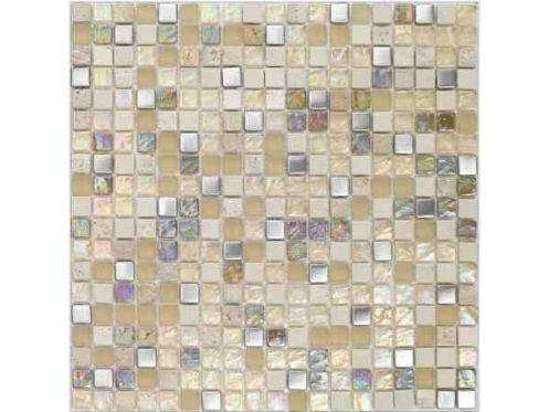 Paves briques de verres mosa ques et galets malla inox - Plaque de mosaique salle de bain ...