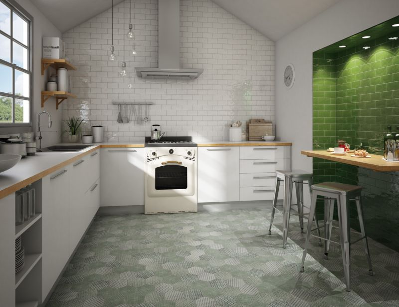 Antic verde 7 5 x 15 carrelage mural de cuisine fa ence bords irr guliers - Image carrelage cuisine ...