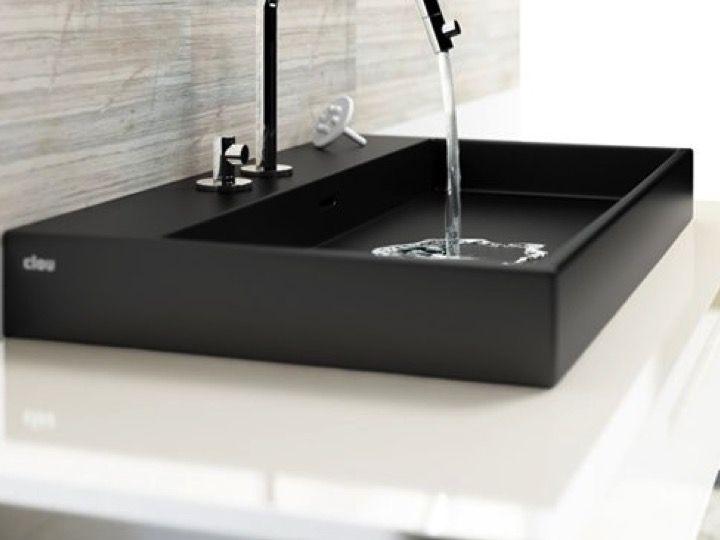 Lavabo de 70 x 42 cm design, en céramique noir mat - Clou ...