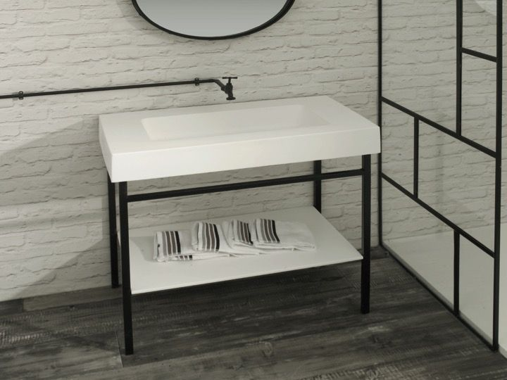 vasques meuble sdb console en acier noir art d co avec vasque lavabo en r sine min ral blanc. Black Bedroom Furniture Sets. Home Design Ideas