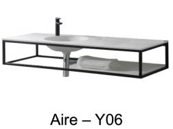 Plan de toilette design sur support en acier noir art-d�co, en r�sine Solid Surface de type Corian - Aire Y06.