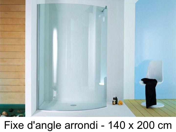 Paroi De Douche Arrondi D Angle 140 X 200 Cm Verre Fixe Open Surf