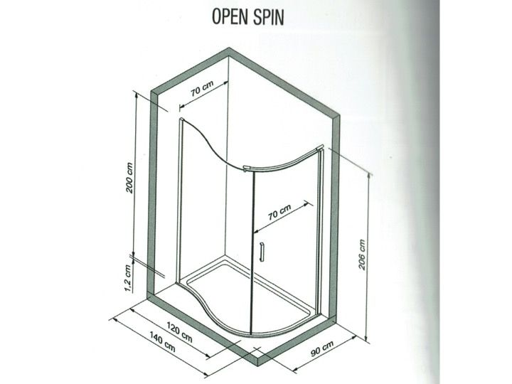 Paroi De Douche Arrondi D Angle 140 X 200 Cm Verre Fixe Open Spin