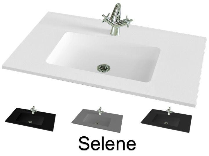 Plan Vasque Lavabo 101 X 46 Cm Suspendue Ou à Encastrer En Résine
