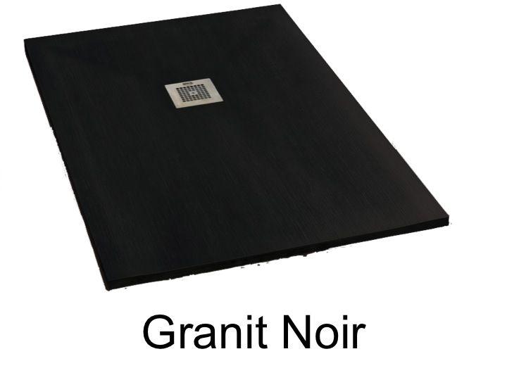 de douche 175 cm en résine, extra plat, grand format, Granit Noir