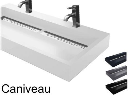 double vasque suspendue ou poser largeur 50 x 100 cm en r sine caniveau. Black Bedroom Furniture Sets. Home Design Ideas