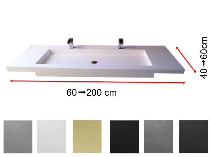 Plan vasque 50 x 110 cm, double robinetteries, suspendue ou ...