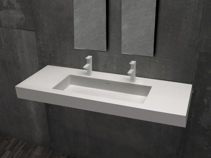 Plan vasque 50 x 110 cm, double robinetteries, suspendue ou à ...