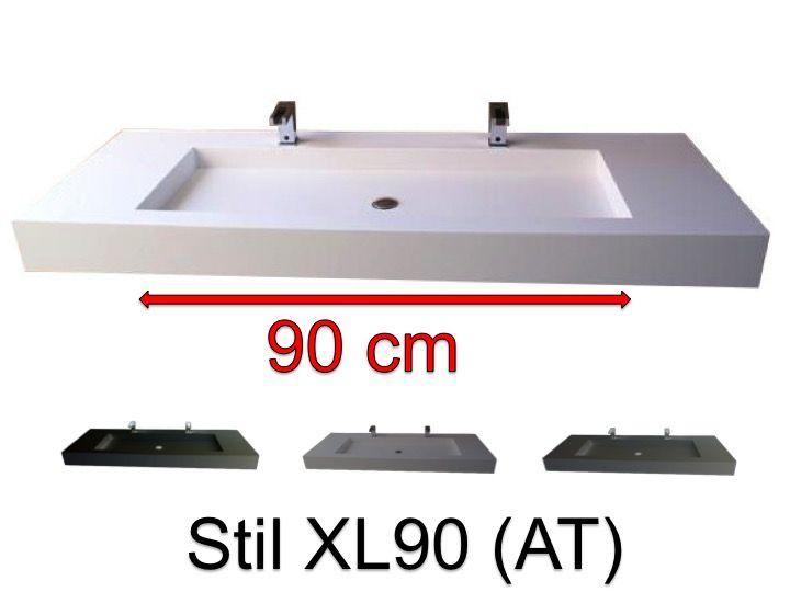 Plan vasque 50 x 100 cm, double robinetteries, suspendue ou ...