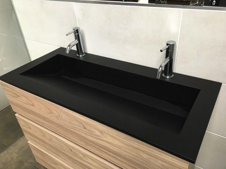 Double plan vasque caniveau 50 x 100 cm lavabo suspendue ou encastrer en r sine min rale sur - Vasque salle de bain 100 cm ...