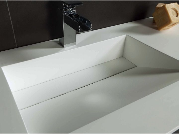 Double plan vasque caniveau 50 x 140 cm, lavabo suspendue ou à ...
