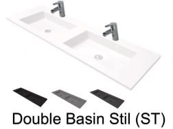 Double vasques suspendue ou � encastrer, 50 x 200 , en r�sine - Still double basin ST
