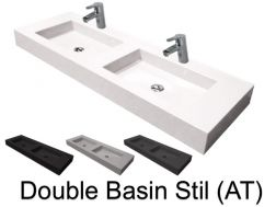 Double vasques suspendue ou � encastrer, 50 x 200 , en r�sine - Still double basin AT