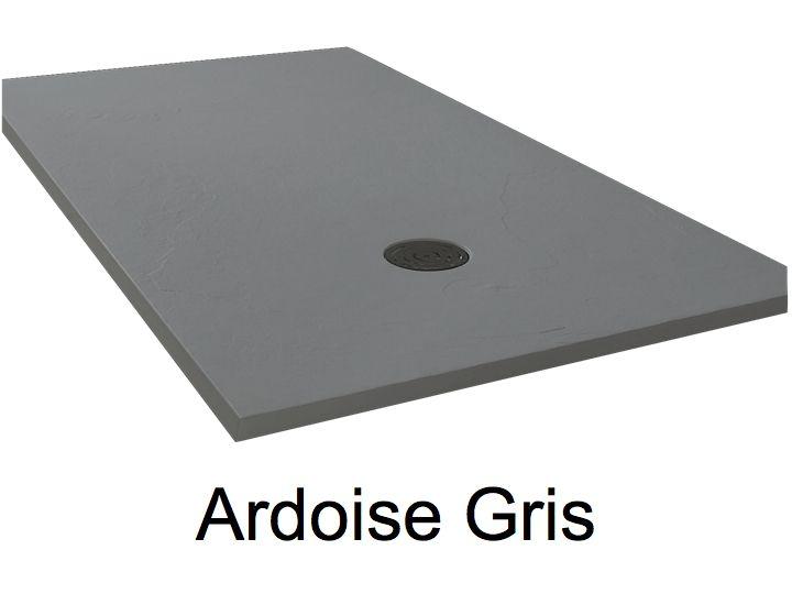 Receveur de douche 180 cm en r sine extra plat grand format effet ardoise gris - Receveur de douche 90x180 ...