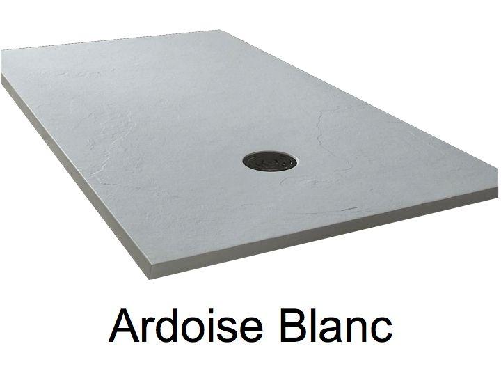receveur de douche 185 cm en r sine extra plat grand format effet ardoise blanc. Black Bedroom Furniture Sets. Home Design Ideas