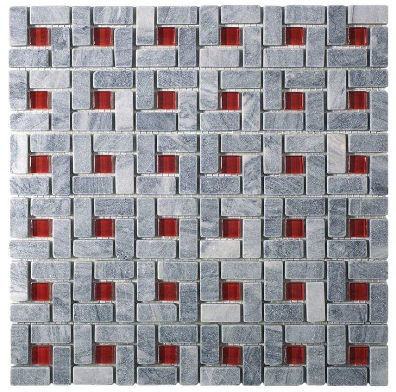 Mosa ques frises et galets pour salle de bain d cors for Salle de bain rouge et gris