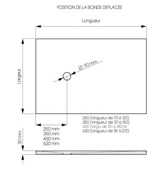 receveurs de douches longueur 65 receveur de douche 65 cm en r sine extra plat petite taille. Black Bedroom Furniture Sets. Home Design Ideas
