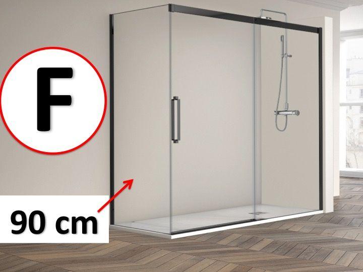 Cabine de douche en angle 110 x 195 cm un verre fixe Porte de douche 110 cm
