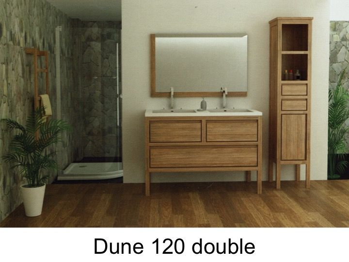 Meuble Salle De Bain En Teck 120 Cm Double Vasques Dune 120