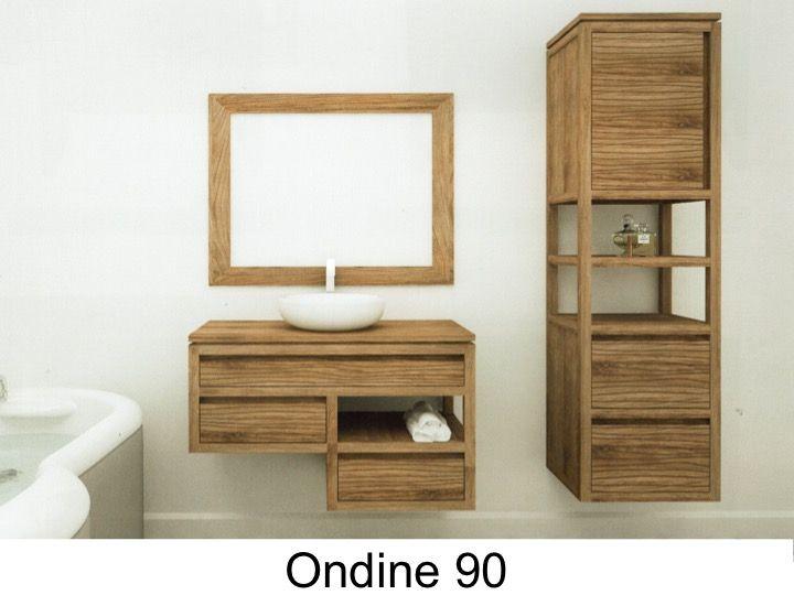 Meuble salle de bain en teck, 80 cm - WAVE 80