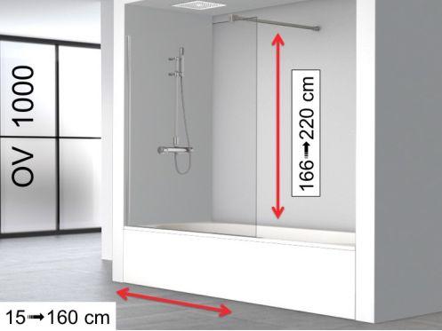 Pare Baignoire Fixe 75 X 150 Cm Sur Mesure Réversible Ov1000