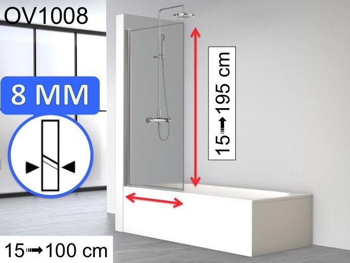 Pare Baignoire Fixe 80 X 147 Cm Verre 8 Mm Reversible Ov1008