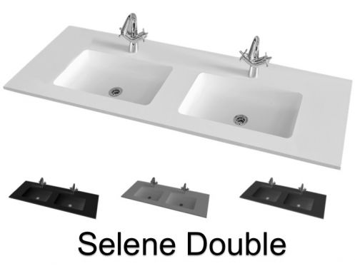 Plan double vasque, 151 x 46 cm, suspendu ou � encastrer - SELENE DOUBLE