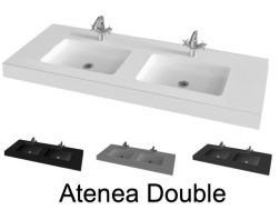 Plan double vasque, 150 x 50 cm, suspendu ou à poser - ATENEA DOUBLE