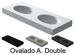 Plan double vasque, 120 x 50 cm , Vasque de forme ovale, suspendu ou � poser - OVALDO A. Double
