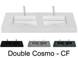 Plan double vasque, 120 x 50 cm , vasque caniveau - COSMO CF Double