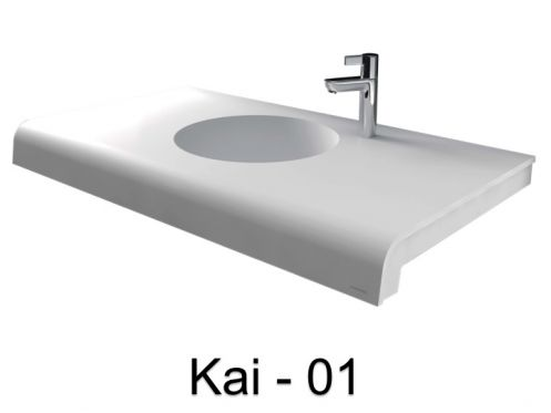 Plan vasque, 40 x 50 cm, en r�sine min�rale solid surface type corian - KAI 01