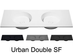 Plan double vasque, 100 x 50 cm, suspendu ou � poser, de forme rond - URBAN double SF