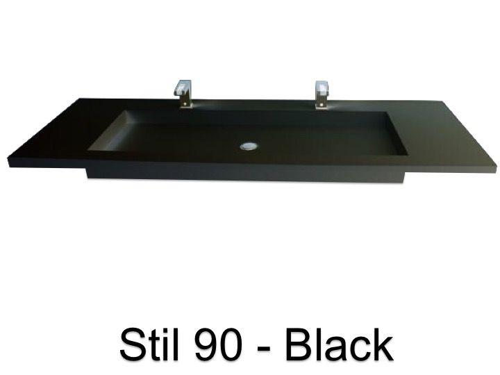 Plan vasque double, 50 x 110 cm, suspendue ou à encastrer ...
