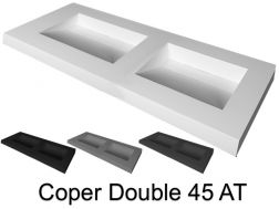 Plan vasque double caniveau, 50 x 120 cm, suspendue ou � encastrer - DOUBLE COPER 45 AT