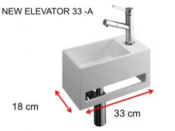Lave-mains, 18 x 33 cm, en Solid Surface, avec porte serviette - NEW ELEVATOR 33 A