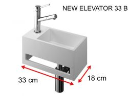 Lave-mains, 18 x 33 cm, en Solid Surface, avec porte serviette - NEW ELEVATOR 33 B