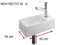 Lave-mains, 18 x 30 cm, en Solid Surface, robinetterie � droite - NEW RECTO 30 A
