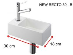 Lave-mains, 18 x 30 cm, en Solid Surface, robinetterie � gauche - NEW RECTO 30 B