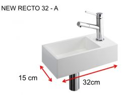 Lave-mains, 15 x 32 cm, en Solid Surface, robinetterie � droite - NEW RECTO 32 A