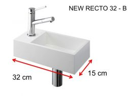Lave-mains, 15 x 32 cm, en Solid Surface, robinetterie � gauche - NEW RECTO 32 B