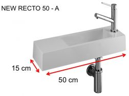 Lave-mains, 15 x 50 cm, en Solid Surface, robinetterie � droite - NEW RECTO 50 -A