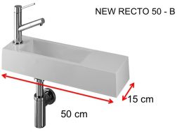 Lave-mains, 15 x 50 cm, en Solid Surface, robinetterie � gauche - NEW RECTO 50 -B