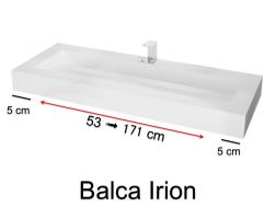 Plan vasque caniveau, 50 x 120 cm, en Solid-Surface - BALCA IRION