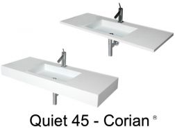 Plan vasque, 50 x 120 cm,  en DuPont Corian® - QUIET 45