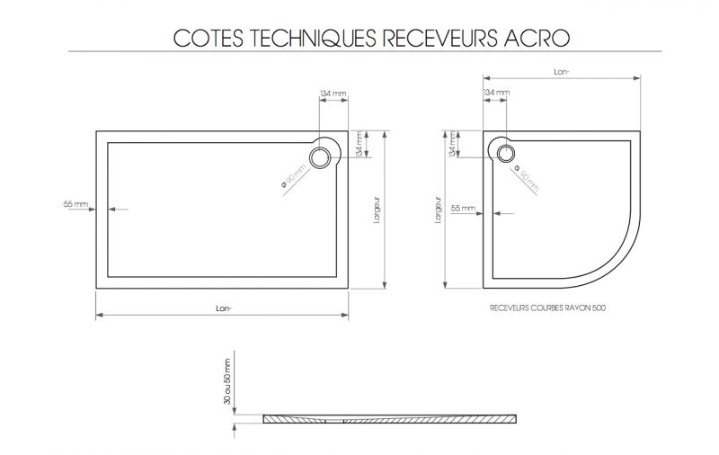 receveurs de douches acrylique 80 x 130 bac de douche acrylique lisse extra plat 3 cm. Black Bedroom Furniture Sets. Home Design Ideas