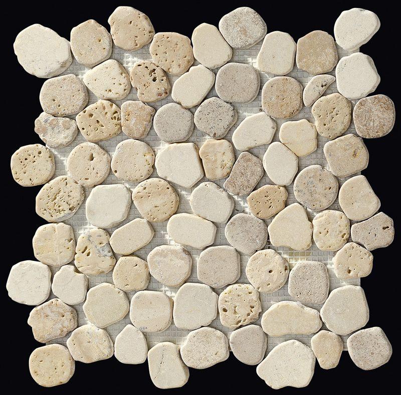Paves briques de verres mosa ques et galets taro beige for Carrelage salle de bain mosaique beige